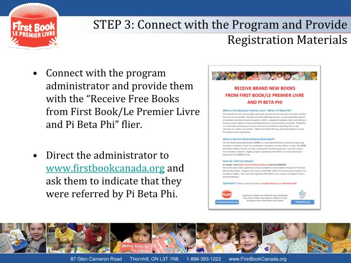 STEP 3: Connect with the Program and Provide Registration Materials