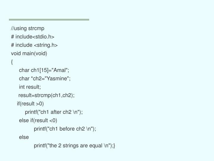 //using strcmp