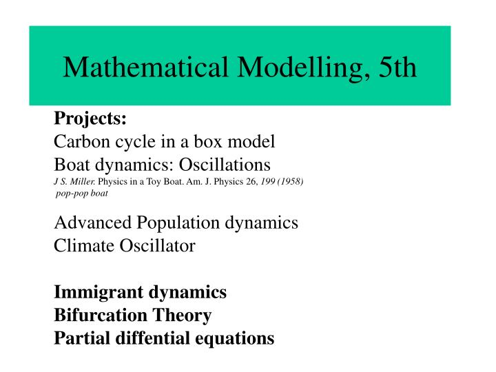PPT - Mathematical Modelling, 5th PowerPoint Presentation