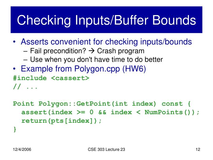 Checking Inputs/Buffer Bounds