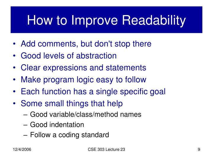 How to Improve Readability