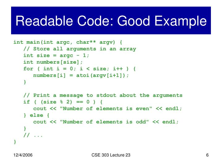 Readable Code: Good Example