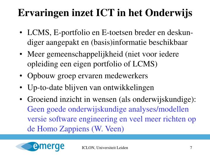 Ervaringen inzet ICT in het Onderwijs