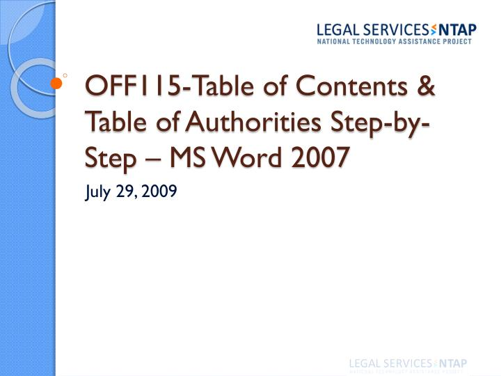 off115 table of contents table of authorities step by step ms word 2007 n.
