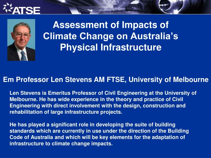 Assessment of impacts of climate change on australia s physical infrastructure