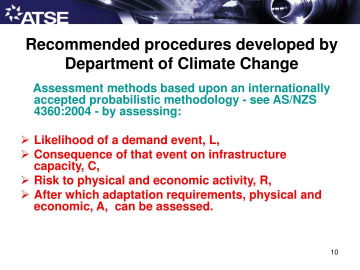 Recommended procedures developed by Department of Climate Change