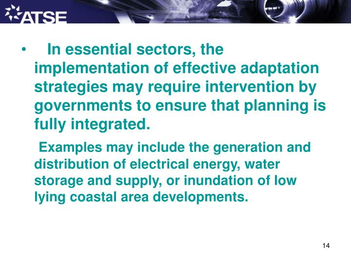 In essential sectors, the implementation of effective adaptation strategies may require intervention by governments to ensure that planning is fully integrated.