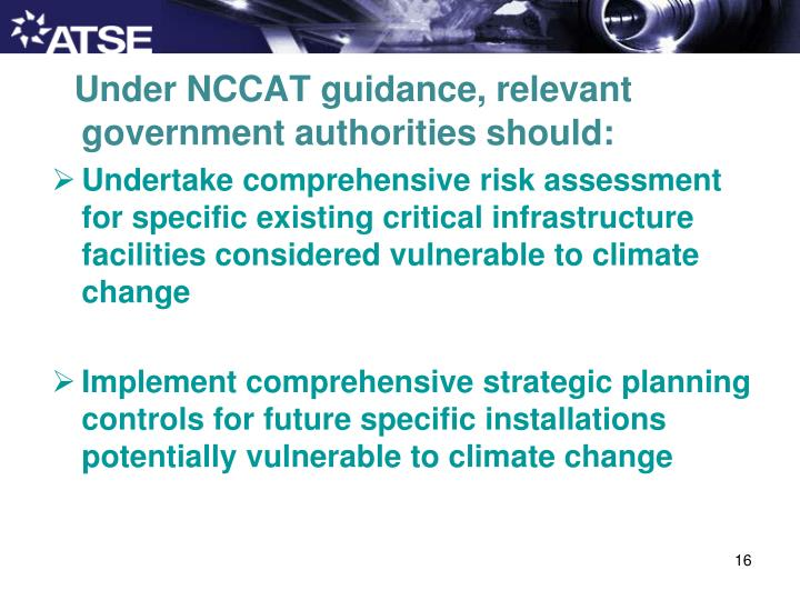 Under NCCAT guidance, relevant government authorities should: