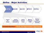 define major activities