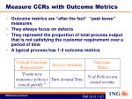 measure ccrs with outcome metrics