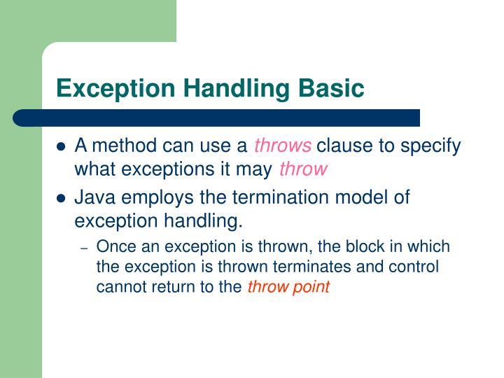 Exception Handling Basic
