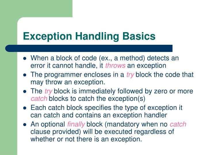 Exception Handling Basics
