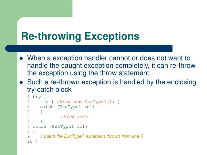 Re-throwing Exceptions