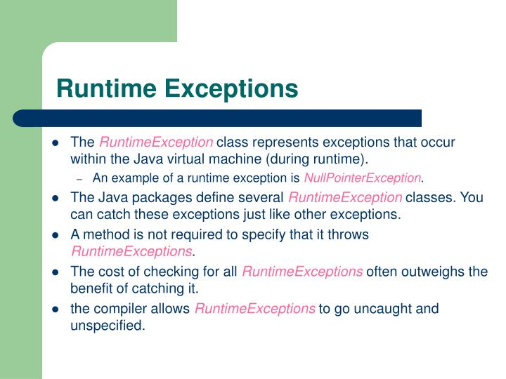 Runtime Exceptions