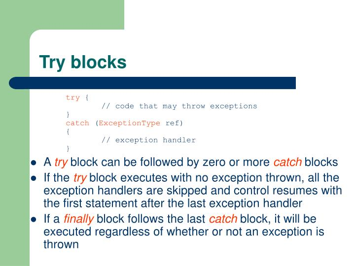 Try blocks