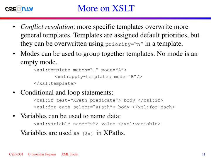 More on XSLT