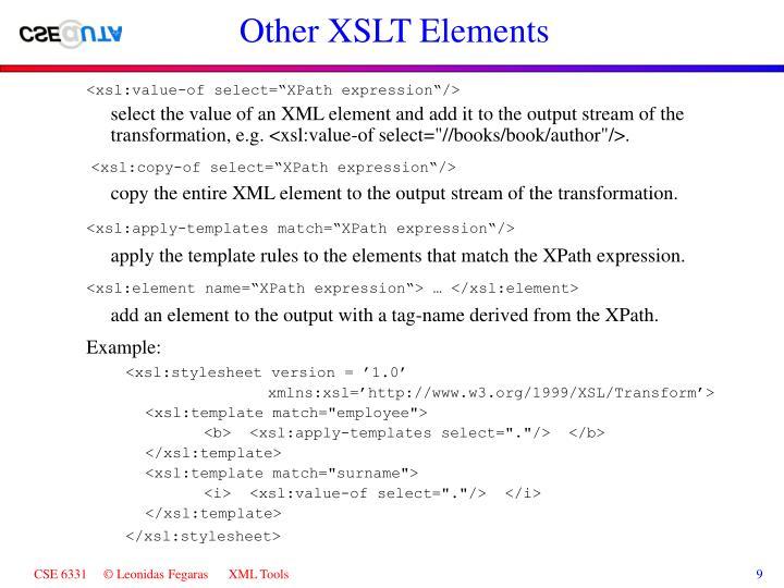 Other XSLT Elements
