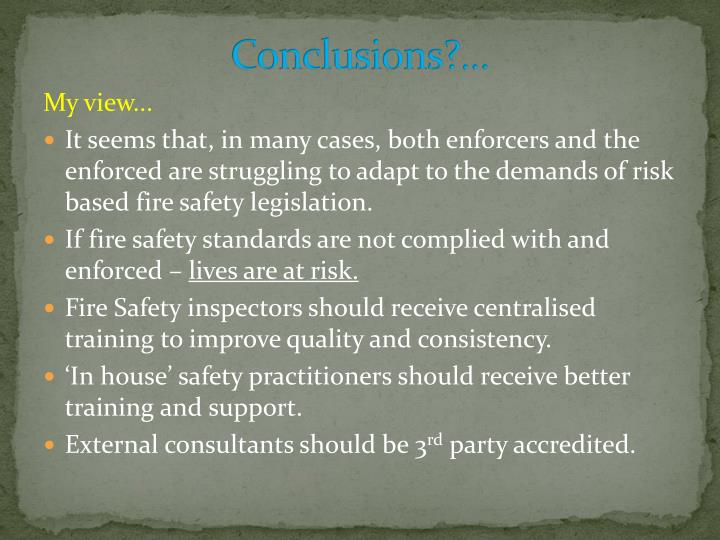 Conclusions?...