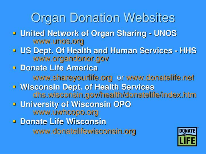 Organ Donation Websites