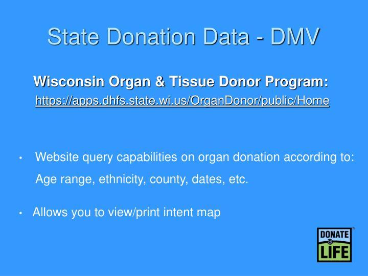 State Donation Data - DMV