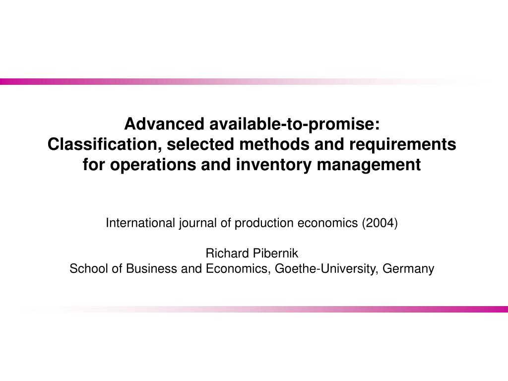 PPT - Advanced Available-to-Promise PowerPoint Presentation - ID:3960775