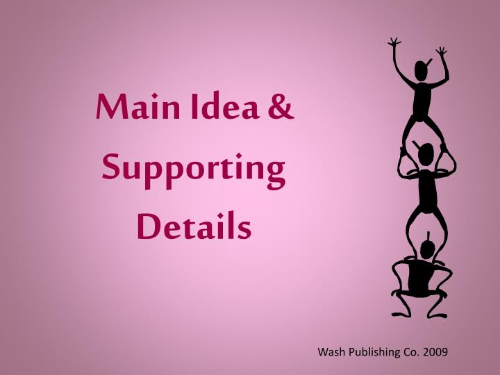 Main idea supporting details