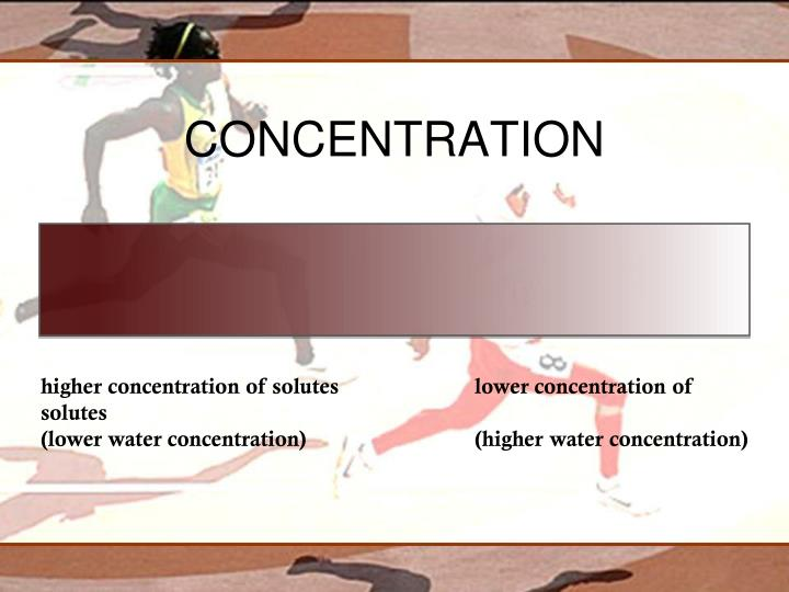higher concentration of solutes				lower concentration of solutes