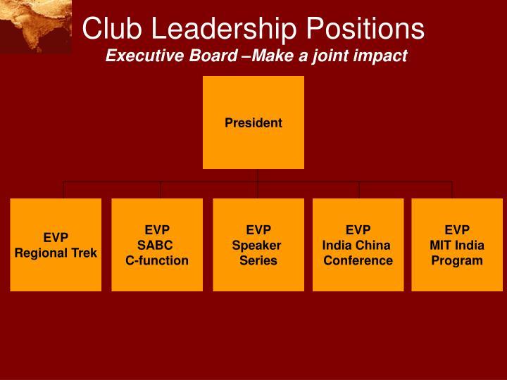 Club Leadership Positions