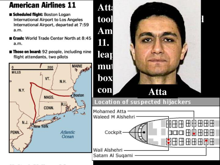 Atta and four partners took their places onboard American Airlines Flight 11.  On command, they leap...
