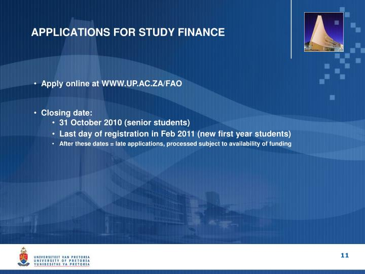 APPLICATIONS FOR STUDY FINANCE