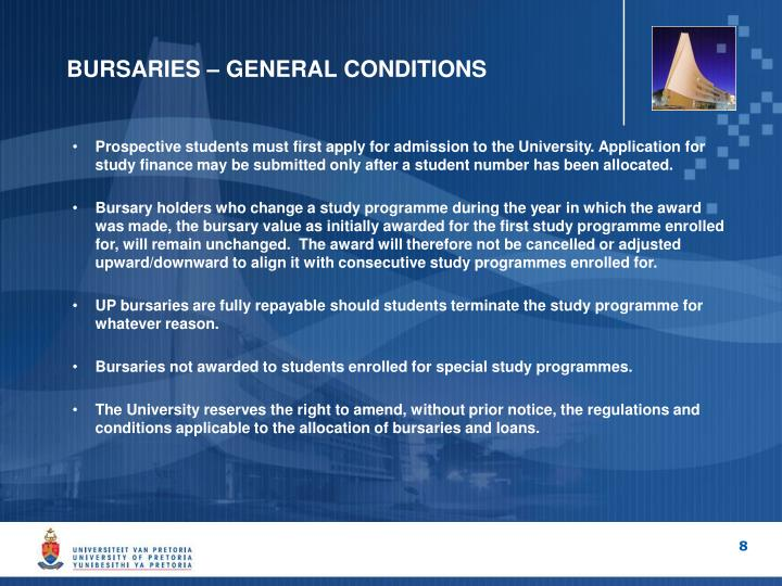 BURSARIES – GENERAL CONDITIONS