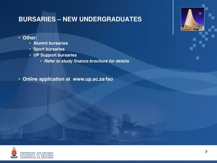 BURSARIES – NEW UNDERGRADUATES