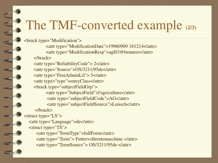 The TMF-converted example