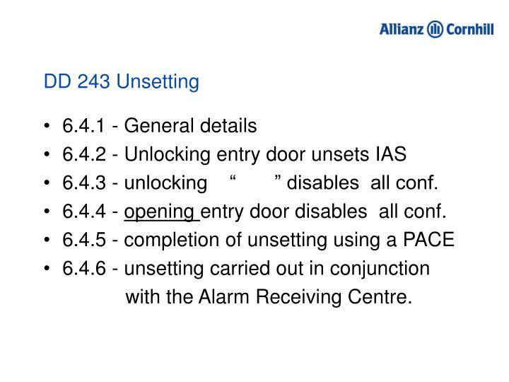 DD 243 Unsetting