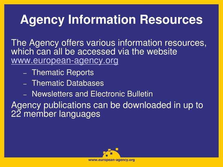 Agency Information Resources