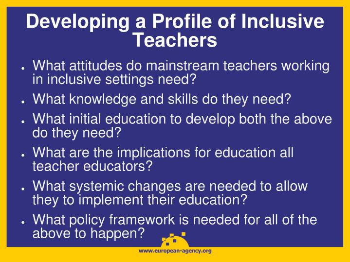 Developing a Profile of Inclusive Teachers