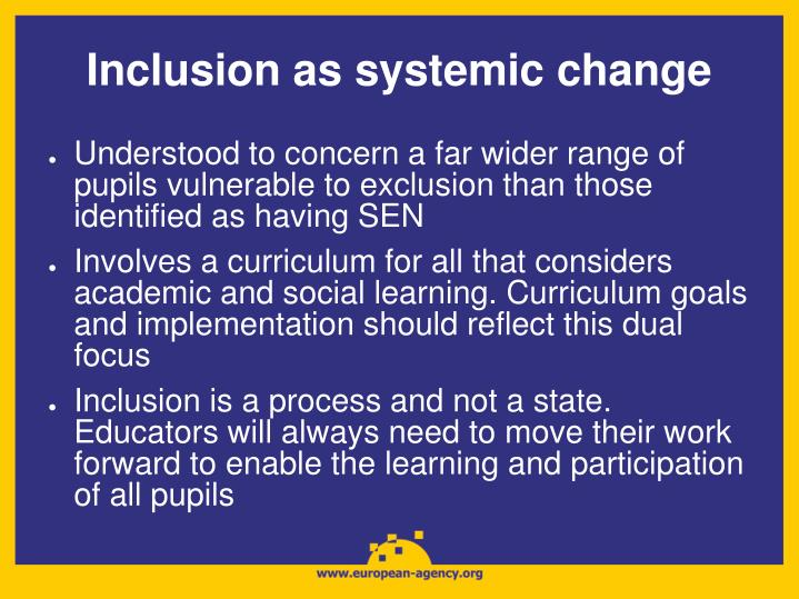 Inclusion as systemic change