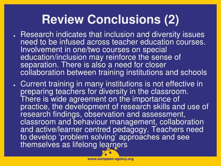 Review Conclusions (2)