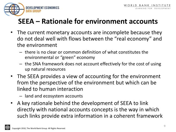SEEA – Rationale for environment accounts