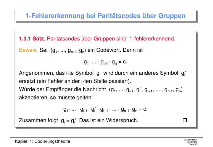 1-Fehlererkennung bei Paritätscodes über Gruppen