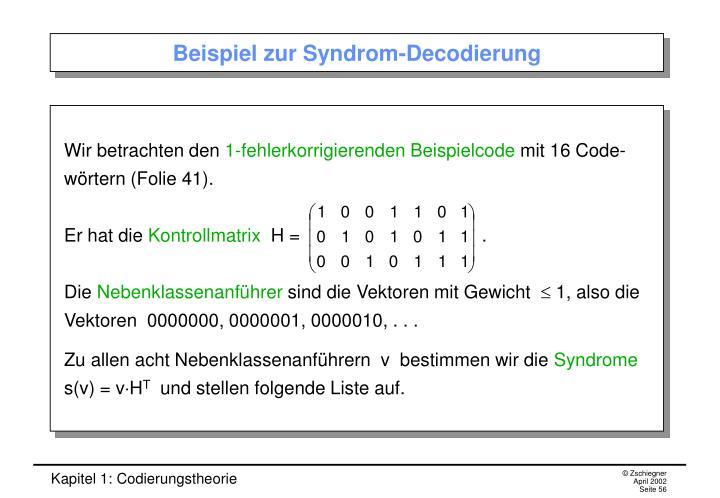 Beispiel zur Syndrom-Decodierung