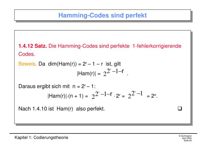 Hamming-Codes sind perfekt