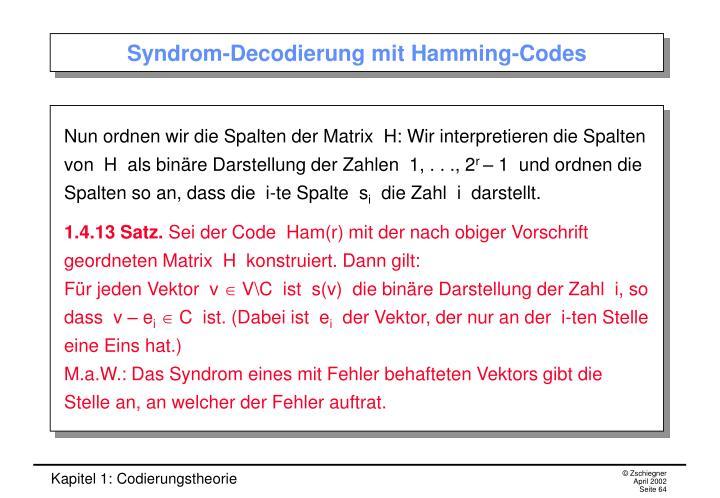 Syndrom-Decodierung mit Hamming-Codes