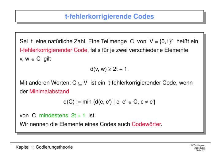 t-fehlerkorrigierende Codes