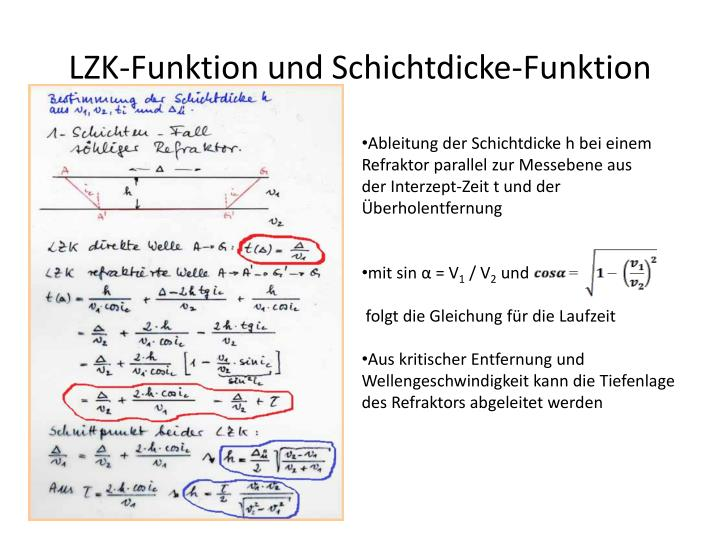 LZK-Funktion und Schichtdicke-Funktion