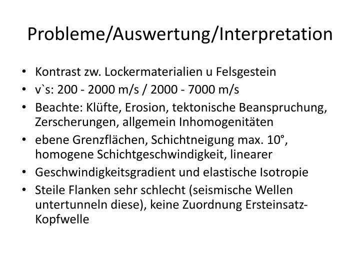 Probleme/Auswertung/Interpretation