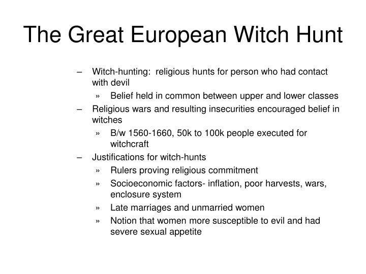 the european witch craze essay example Overall, the witch trials in england had a lower execution rate than the trials in  europe  for example, while 32 per cent of those accused of witchcraft were  punished in  wrote this paper for her history 373 class on the european witch  hunts.