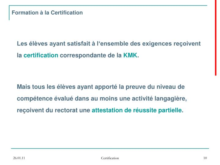 Formation à la Certification