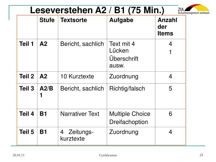 Leseverstehen A2 / B1 (75 Min.)