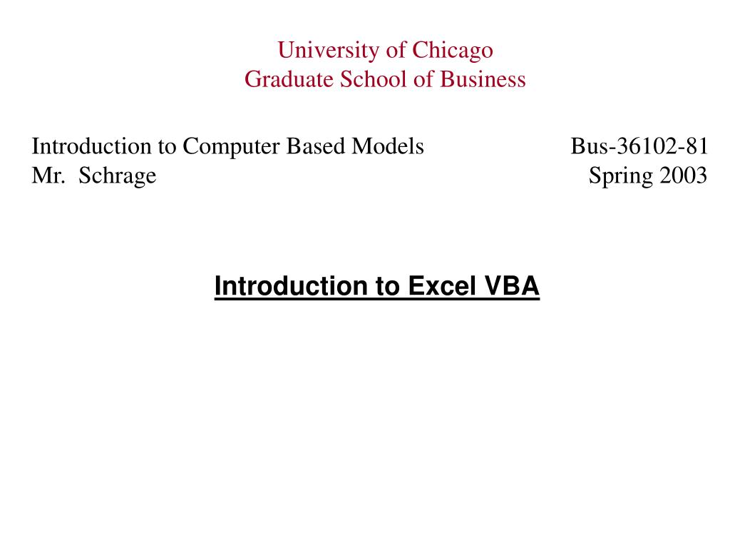 Ppt Introduction To Excel Vba Powerpoint Presentation Free Download Id 3962950